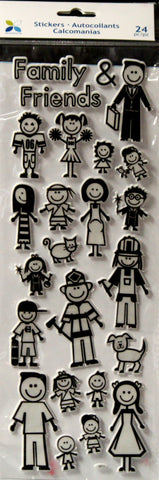 Momenta Family & Friends Stick People Puffy Sticker Embellishments