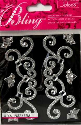 Jolee's All That Bling Silver Gem Flourishes Adhesive Dimensional Stickers