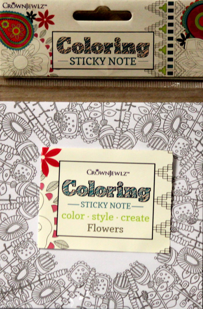 CrownJewlz Flowers Coloring Sticky Note Pad