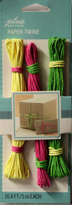 Jolee's Boutique Paper Twine Yellow/Pink/Green Set