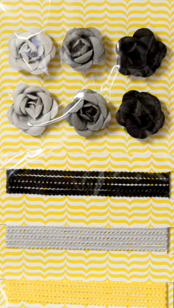 Shades Of Gray Roses & Ribbons Combo Pack Embellishments