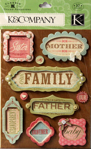 K & Company Classic K Bailey Framed Words Grand Adhesions Dimensional Stickers