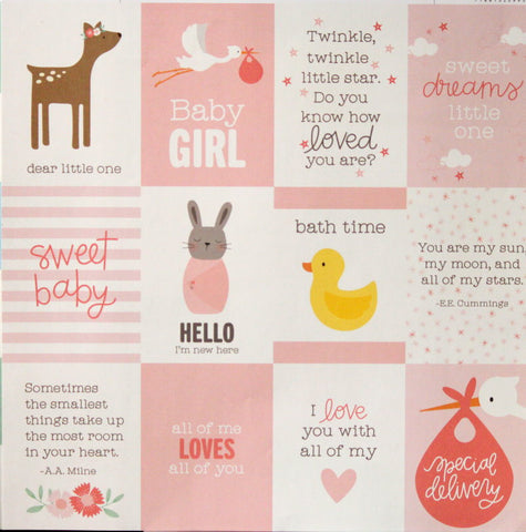 American Crafts The Color of Memories Paper Baby Girl Sentiments Die-cuts