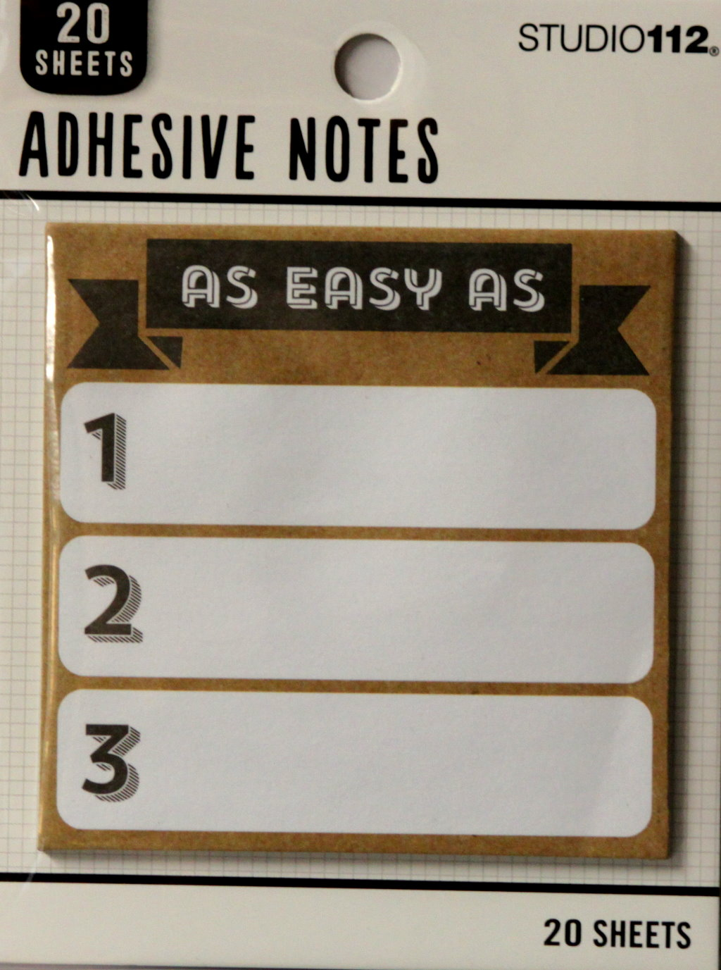 K & Company Studio112  Neutral Easy as 123 Large Adhesive Notes