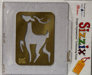 Sizzix Reindeer Simple Impressions Brass Stencil & Embossing Folder