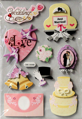 Wedding Day Dimensional Chipboard & Bling Embellishments Stickers