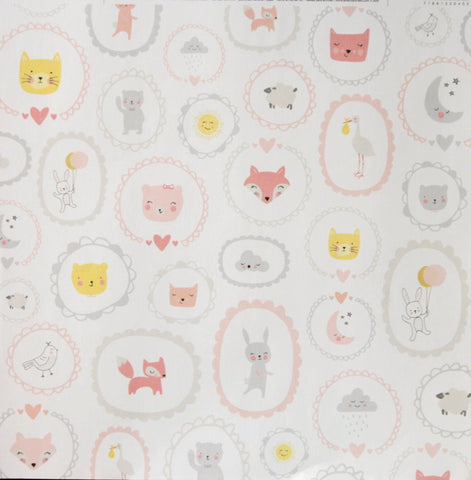 American Crafts The Color of Memories 12 x 12 Baby Girl Animals Scrapbook Paper