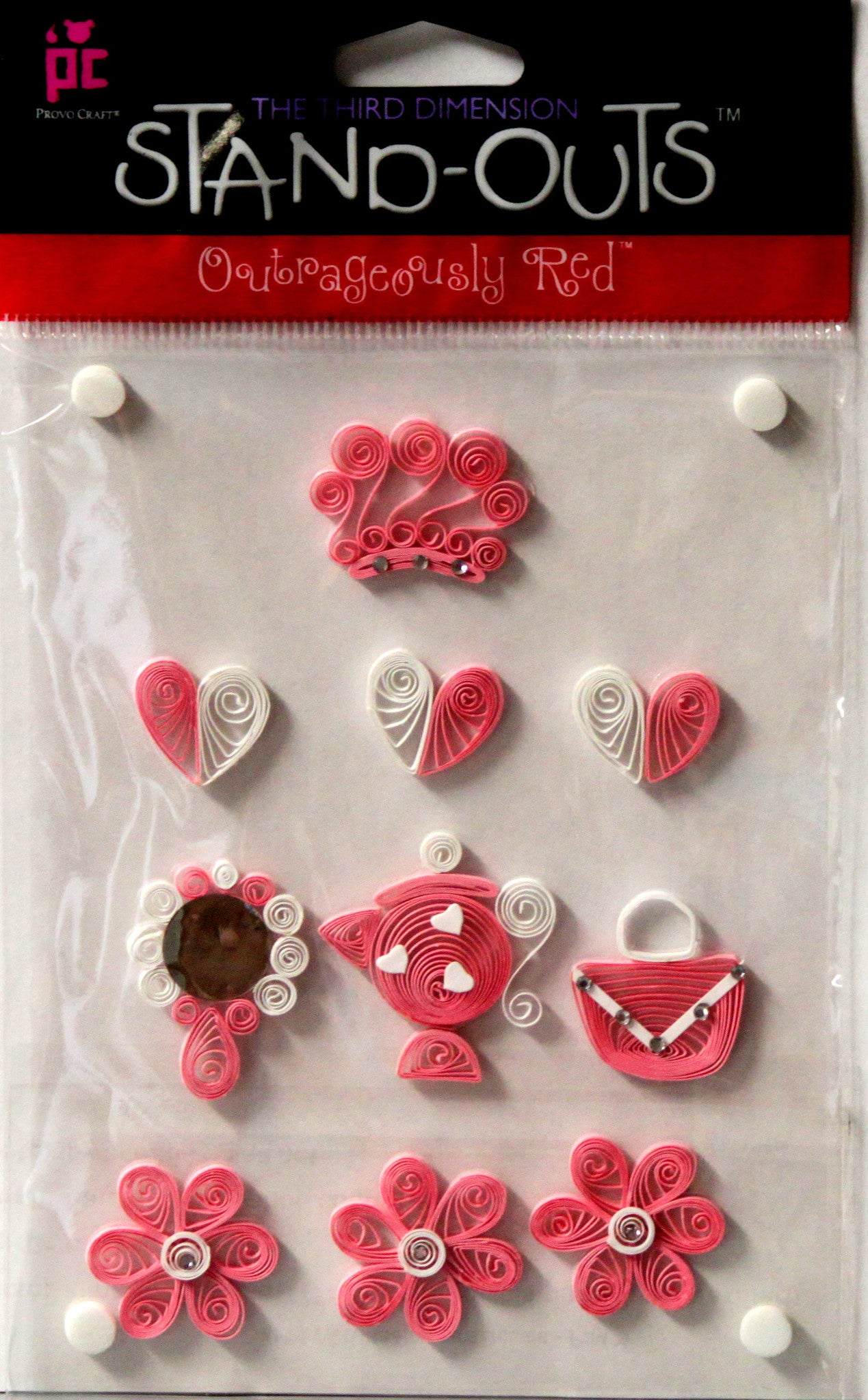 Provo Craft Stand-Outs Princess Pink Quilled Dimensional Scrapbook Stickers - SCRAPBOOKFARE