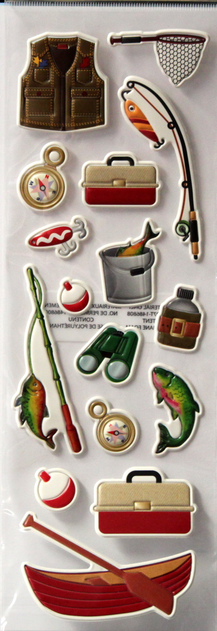 Recollections Gone Fishing Puffy Dimensional 3-D Stickers Embellishments