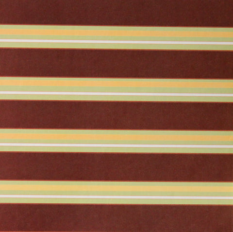 Brown Daisy Stripes Coordinates Printed 12 x 12 Scrapbook Paper