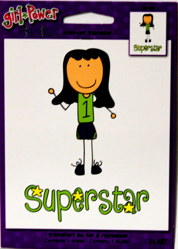 "Plaid Girl Power ""Superstar"" Iron-On Transfer - SCRAPBOOKFARE"