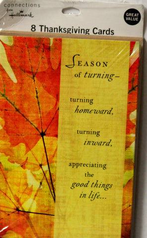 Hallmark Connections 8 Thanksgiving Cards & Envelopes Set - SCRAPBOOKFARE