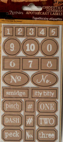 7gypsies Chemistry Numbers Apothecary Labels Stickers Embellishments