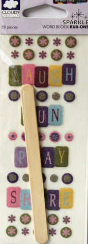 Cloud 9 Design Brittany's Castle Sparkle Word Block Rub-Ons Transfers - SCRAPBOOKFARE