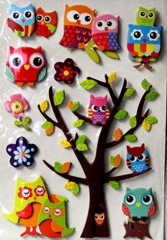 Wise Old Owls Dimensional Chipboard Embellishments Stickers