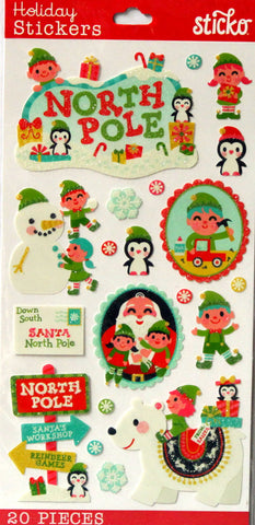 EK Success Sticko North Pole Glitter Stickers - SCRAPBOOKFARE