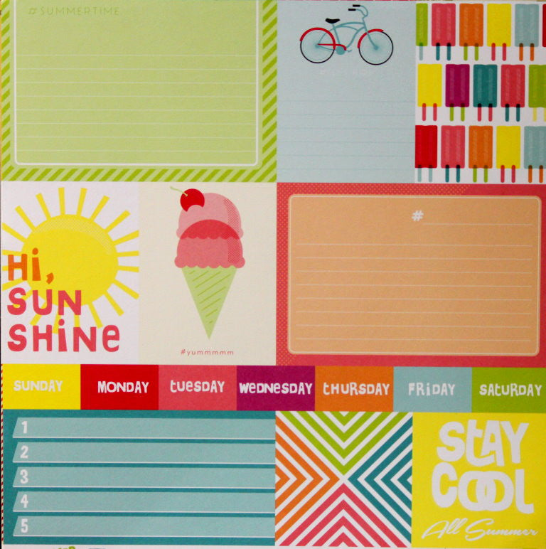 American Crafts #Summer #Sunnyday Journal Cards & Icons 12 x 12 Cardstock Cutables