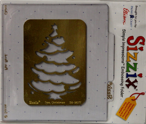 Sizzix Tree Christmas Simple Impressions Brass Stencil & Embossing Folder