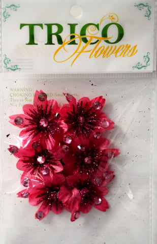 Trico Delicate Fuschia Satin Flowers With Gem Centers Embellishments