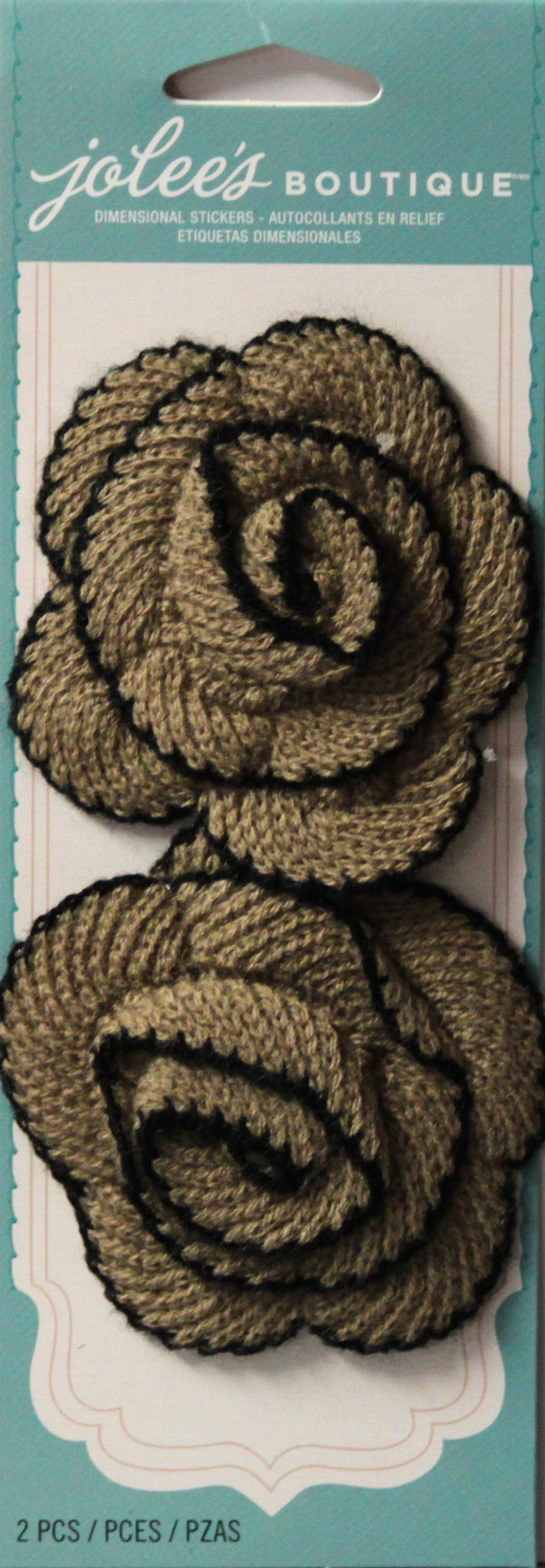 Jolee's Boutique Black Tan Knit Spiral Flowers Stickers