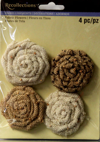 Recollections Handmade Burlap Fabric Flowers Embellishments