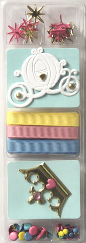 Hot Off The Press Disney Princess Brads & Ribbons Embellishment Kit