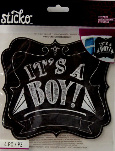 EK Success Sticko It's A Boy Chalkboard Reveal Announcement Stickers