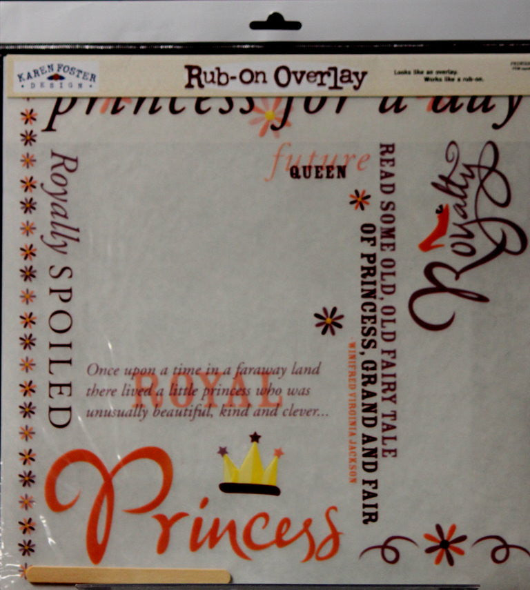 Karen Foster Design Princess 12 x 12 Rub-On Overlay - SCRAPBOOKFARE