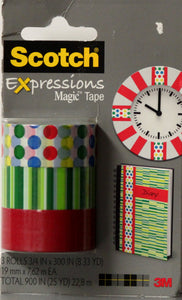 Scotch Expressions Magic Tape Designer 3-Pack Washi Tape