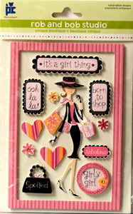 Provo Craft Rob & Bob Studio Girly Girl Handcrafted Dimensional Stickers Embellishments