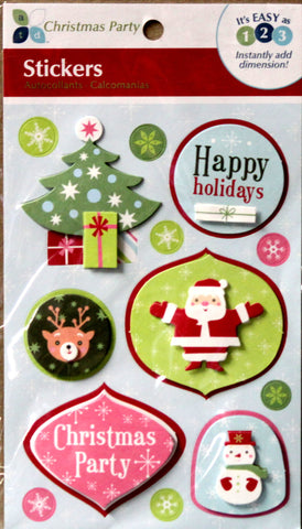 Momenta Christmas Party Dimensional Stickers - SCRAPBOOKFARE