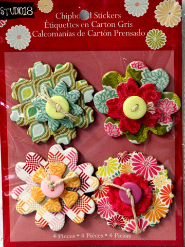 Studio 18 Button Flowers Chipboard Stickers Embellishments