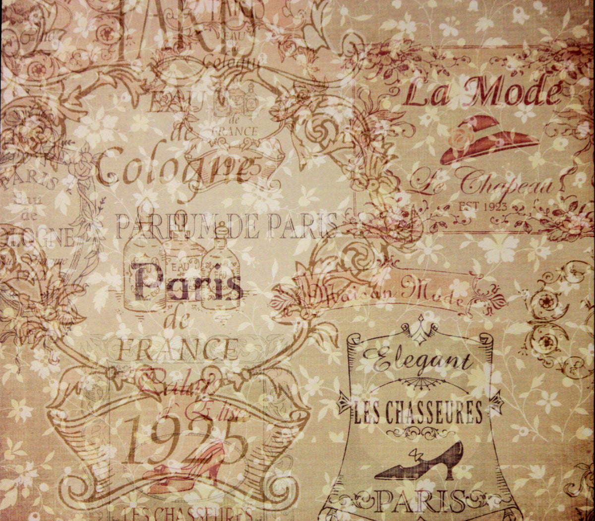 The Paper Studio 12 x 12  Vintage Paris Flat Scrapbook Paper