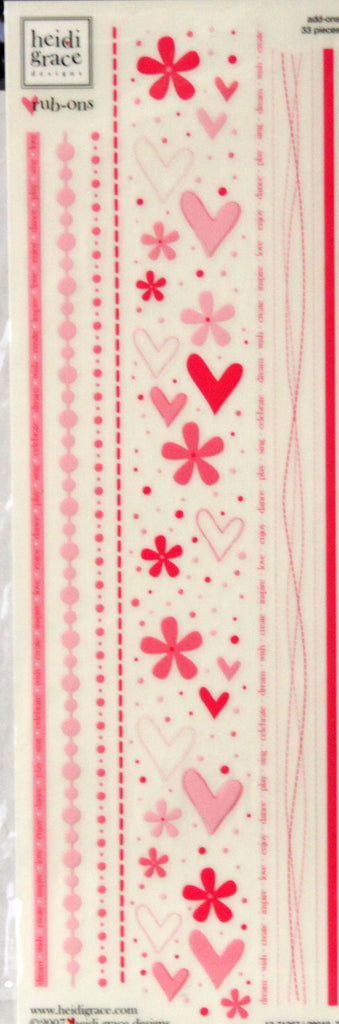 Heidi Grace Common Add-on Rub-ons Pink Rub-on Transfers - SCRAPBOOKFARE