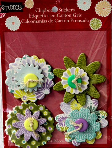Studio 18 Cool Button Flowers Chipboard Stickers Embellishments