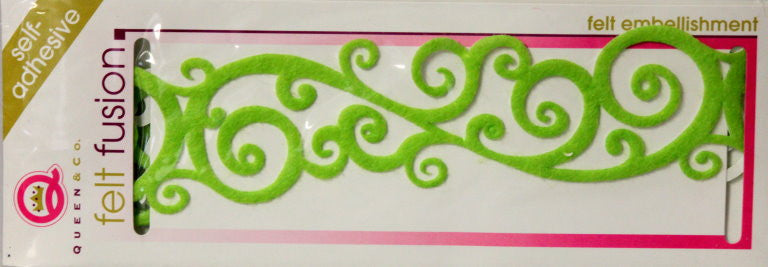 Queen & Company Felt Fusion Green Scroll Self-Adhesive Felt Embellishment - SCRAPBOOKFARE