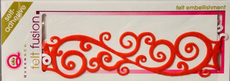 Queen & Company Felt Fusion Orange Scroll Self-Adhesive Felt Embellishment - SCRAPBOOKFARE