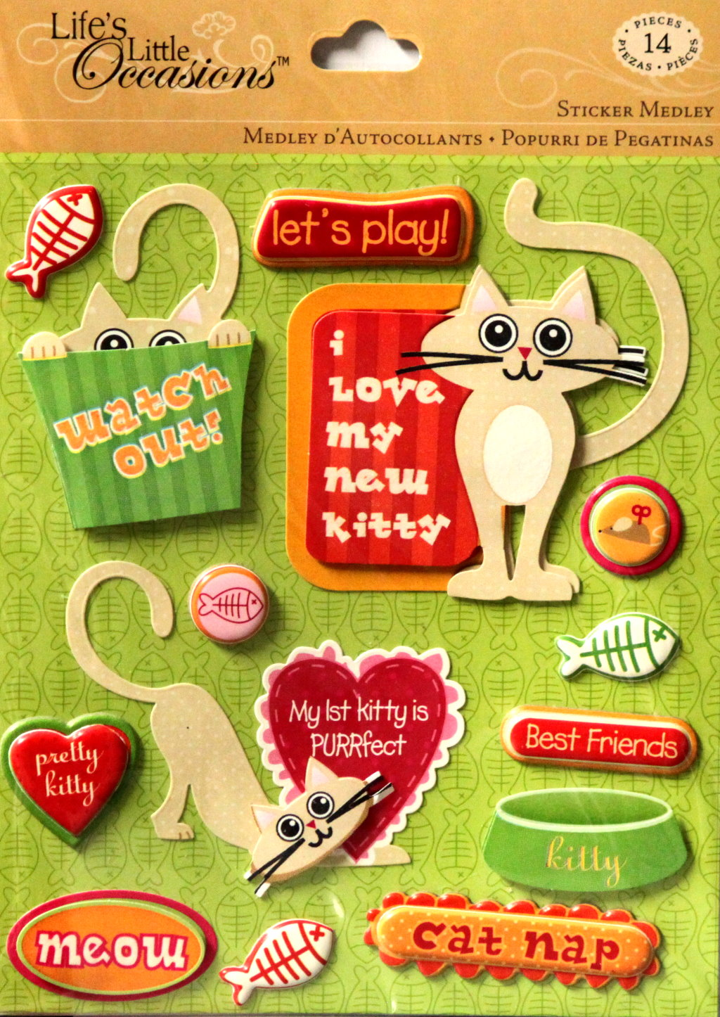 K & Company Life's Little Occasions Pet Firsts Cat Dimensional Sticker Medley