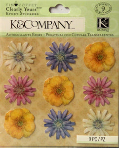 K & Company Tim Coffey Flowers Clearly Yours Epoxy Dimensional Stickers