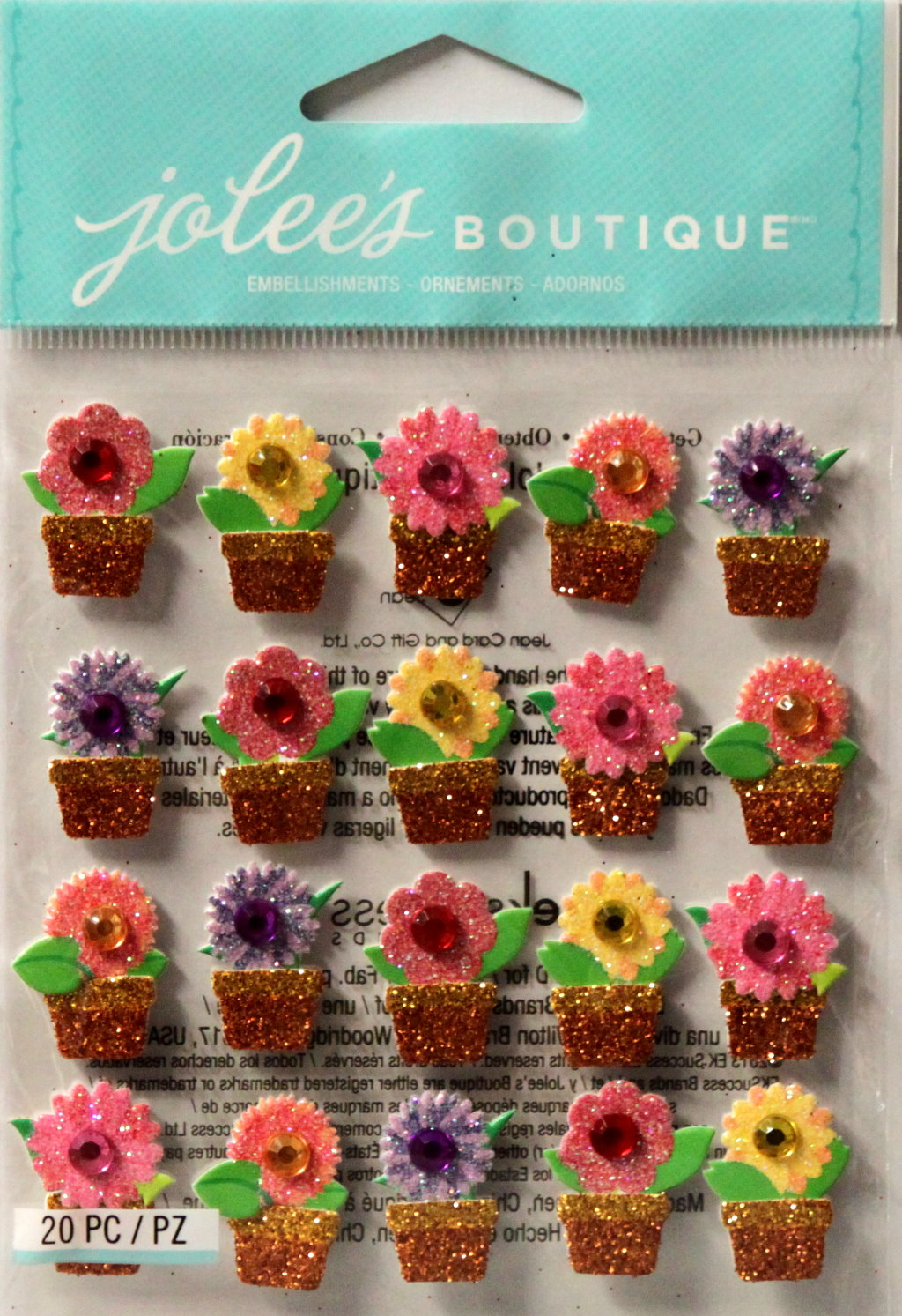 Jolee's Boutique Flower In Pots Repeats Dimensional Stickers