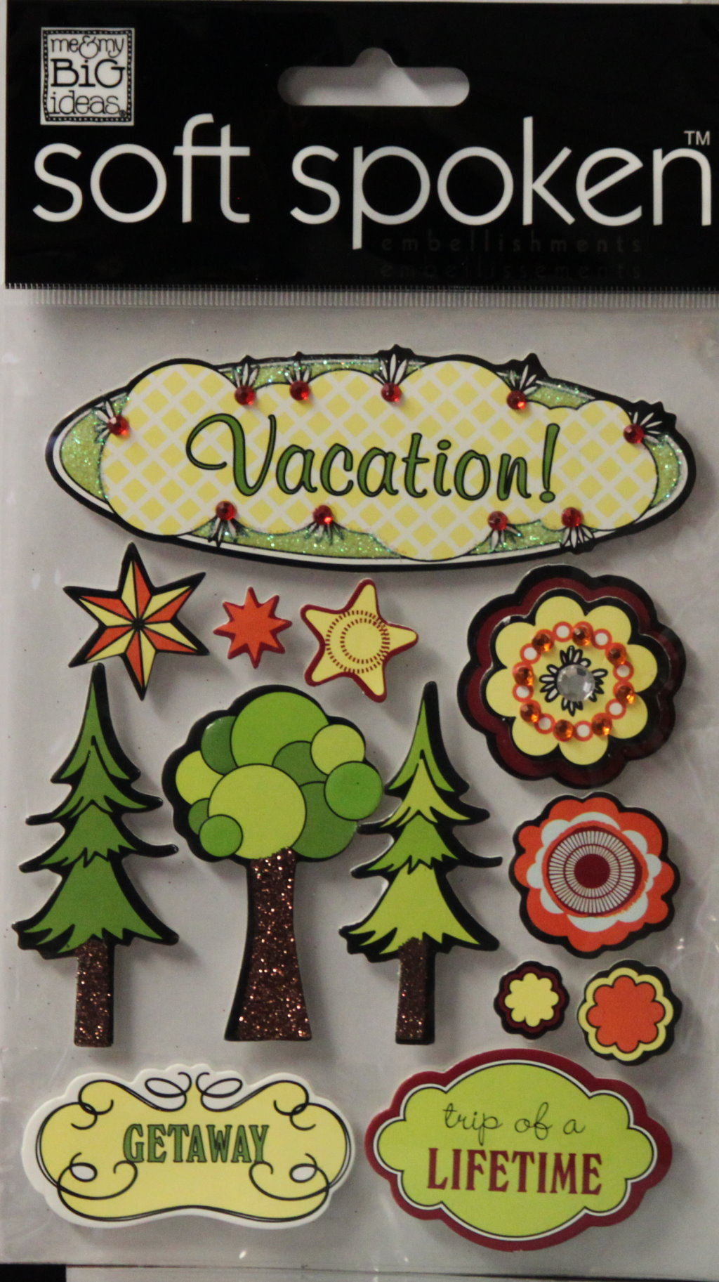 Me & My Big Ideas Soft Spoken Vacation Dimensional Sticker Embellishments