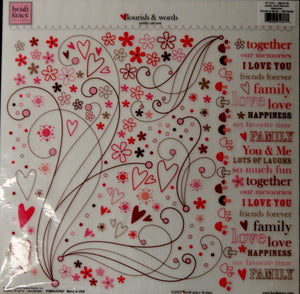"Heidi Grace Flourish & Words Jumbo 12"" x 12"" Rub-ons Transfers - SCRAPBOOKFARE"