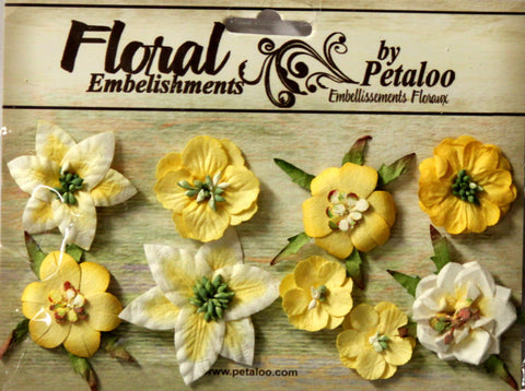 Petaloo Mini Canterbury Assortment Lemon Floral Embellishments