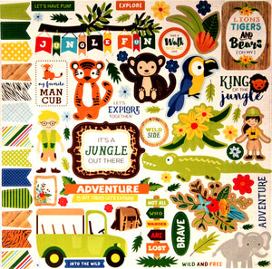 Echo Park 12 x 12 Jungle Safari Element Sticker Sheet