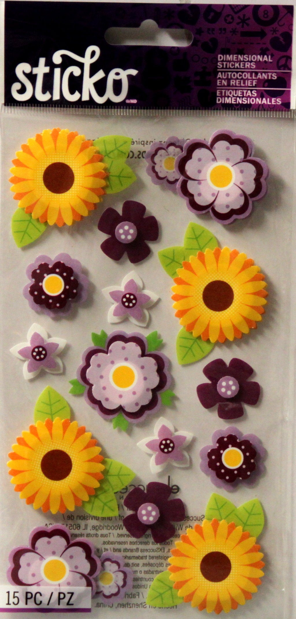 Sticko Layered Vellum Daisies Dimensional Stickers