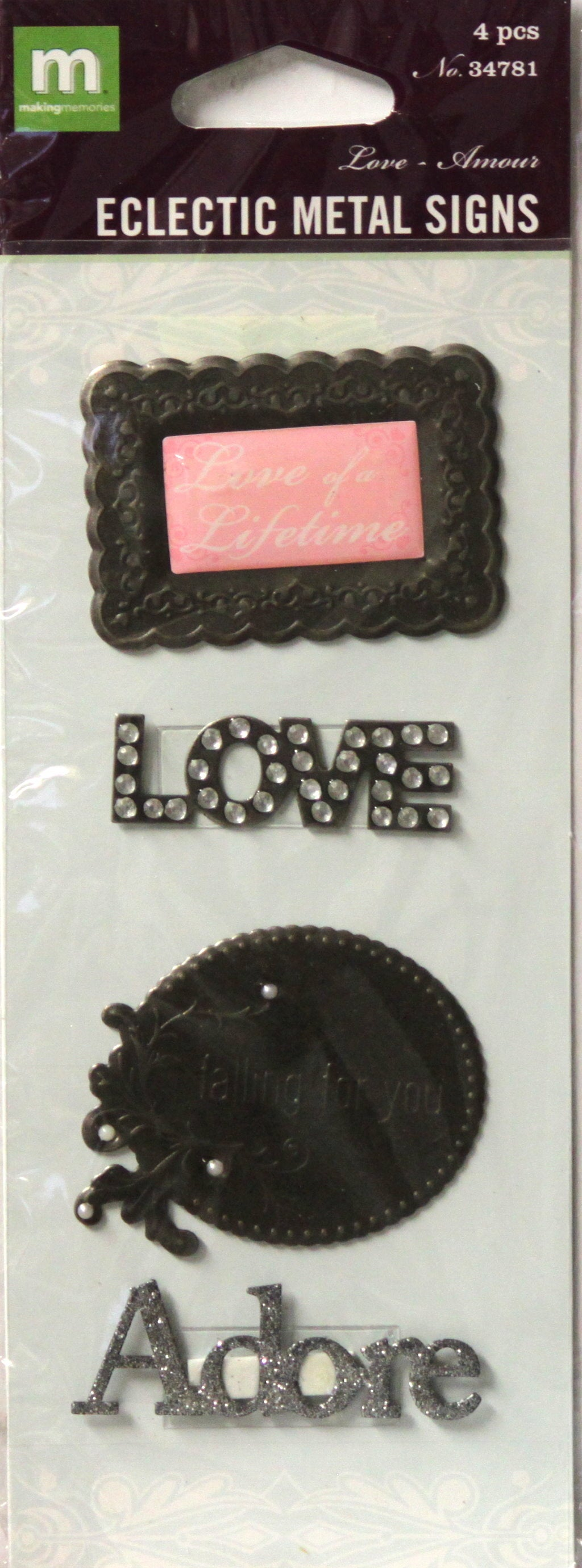 Making Memories Eclectic Metal Signs Love Embellishments