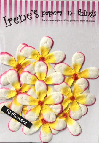 Irene's Papers-N-Things Handmade Yellow Mulberry Paper Flowers