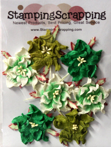 StampingScrapping Premium Gardenia Green Mulberry Paper Flowers