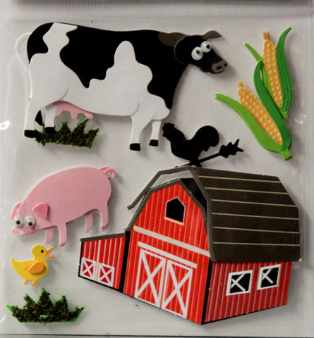 The Paper Studio LaPetites Barnyard Animals 3-D Dimensional Themed Scrapbook Stickers