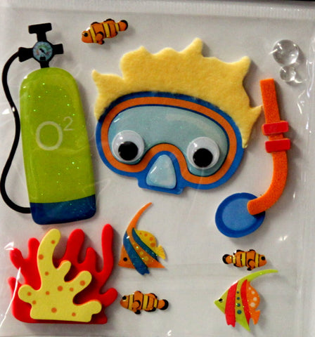 The Paper Studio LaPetites Snorkeling 3-D Dimensional Themed Scrapbook Stickers